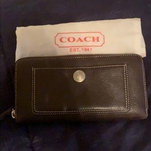 Coach Leather Large Zip Wallet
